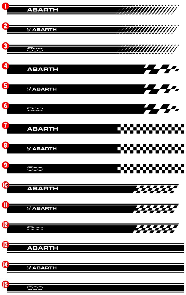 FIAT 500 abarth side racing stripes stickers vinyl ...